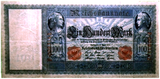 Reichsbanknote 100 Mark German Tahun 1910