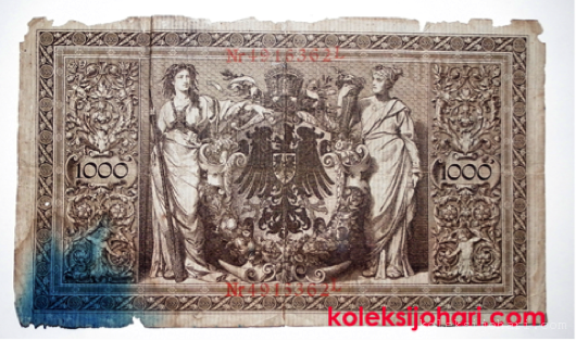 Reichsbanknote 1000 Mark German Tahun 1910