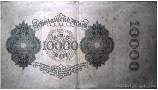 Reichsbanknote 10000 Mark German Tahun 1922