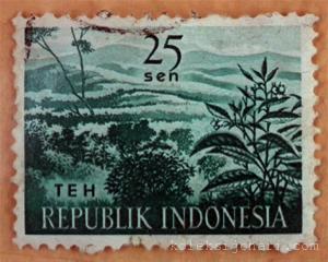Setem Indonesia terbitan tahun 1963 berpotretkan Tanaman Ladang.