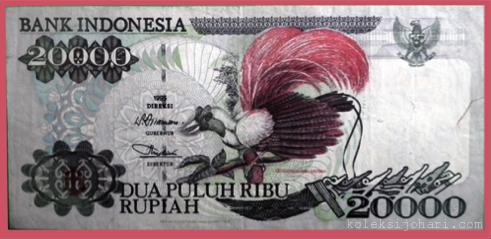 Wang Kertas Gambar Burung Cenderawasih & Bunga Cengkih 20000 Rupiah