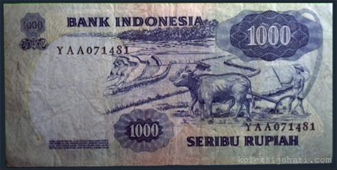 Wang Kertas Gambar Diponegoro & Kerbau Bajak 1000 Rupiah